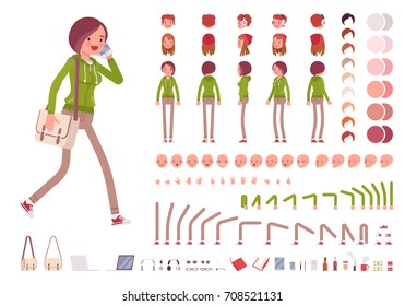 Teenager girl in a hoodie and pants, with shoulder bag. Character creation set. Full length, different views, emotions and gestures. Build your own design. Cartoon flat-style infographic illustration