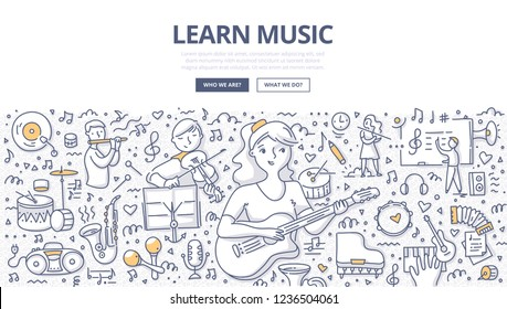 Teenager girl learn music by playing guitar. Children with various musical instruments on music lesson. Doodle concept of learning music for web banner, hero images and printing materials