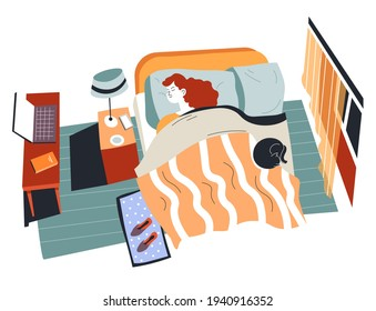 Teenager girl sleeping in bed covered with blanket. Woman with cat laying on sofa. Interior of room or dormitory of student. Table with laptop and notebook, bright lamp. Vector in flat style