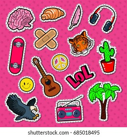 Teenager Lifestyle Fashion Stickers, Patches and Badges Set. Teen Elements Doodle. Vector illustration