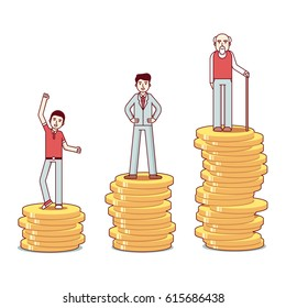 Teenager, man & old man with a walking stick standing on stacks of gold coins. Business metaphor of savings growth. Modern flat style thin line vector illustration isolated on white background.