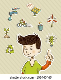 Teenager presents green actions with retro cartoon style icon set. Vector file layered for easy manipulation and custom coloring.