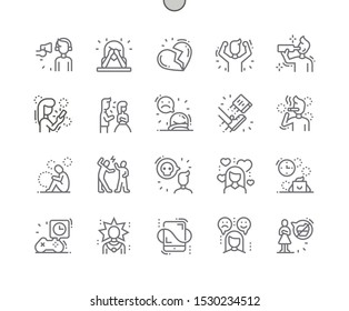 Teenager Problems Well-crafted Pixel Perfect Vector Thin Line Icons 30 2x Grid for Web Graphics and Apps. Simple Minimal Pictogram