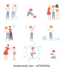 Teenager Puberty Problems Set, Anxiety, Depression, Problems with Parents, Stress at School, Bulling, Unrequited, One Sided Love Vector Illustration