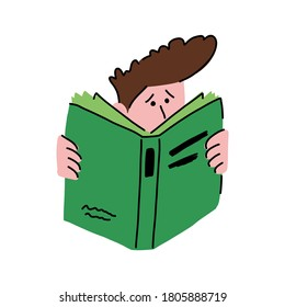 Teenager reads a big book, vector illustration. The boy likes to read literature. Self-study at home during quarantine