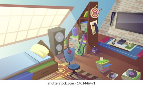 Teenager Room at Daytime with Large Window, Bed, TV, Play Station, Electric Guitar, Headset, Big Musical Dynamic, Darts, Placard on Wall. Teen Boy Bedroom Interior. Cartoon Flat Vector Illustration