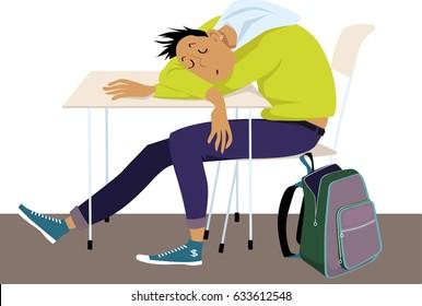 Teenager sleeping at the desk at school, EPS 8 vector illustration