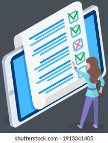 Teenager studying questionnaire. Female character checks and grades exam on tablet screen. Woman touching sheet of paper with answers. Character stands near big checklist. Girl stands and studies form