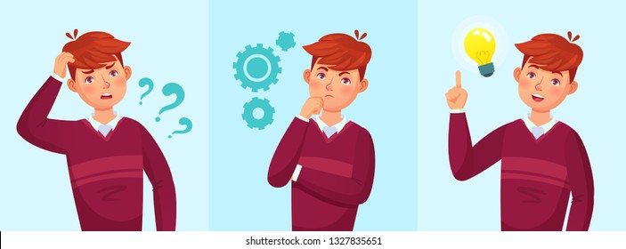 Teenager think. Thoughtful student, teen boy idea or university students guy solved question. Thinking teenager solution, studying adolescent guy vector cartoon illustration