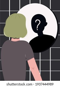 A teenager of undetermined gender looks in the mirror, but does not see his own reflection. Search for yourself, an attempt to determine your gender. teenage problems. Self-rejection. Who am I?