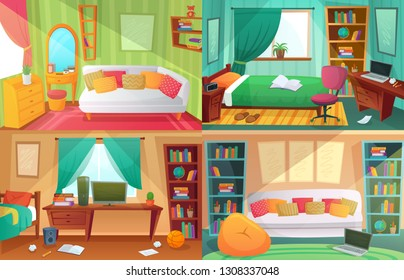 Teenagers bedroom. Student cluttered room, teenager college house apartment and home rooms furniture. Teen apartment interior, messy dirty and clean bedrooms cartoon vector illustration set