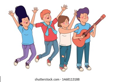 Teenagers friends playing guitar while singing and dancing ,vector illustration graphic design.