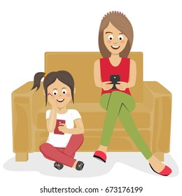 Teenagers girls or sisters using their smartphones sitting on sofa and floor