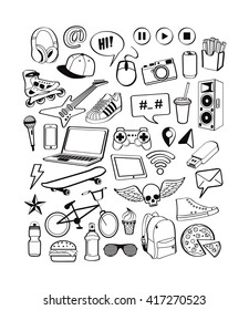 Teenagers having fun. Set icons for teenage boy. Doodles elements isolated on white background for design thinking cool idea with sports, music, multimedia, delicious, shoes. Vector illustration