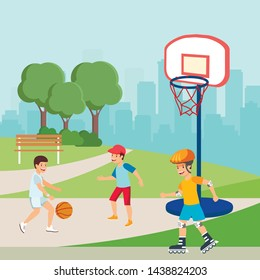 Teenagers Playing Basketball, Boy Roller Skating. Flat Cartoon Active Children Characters. Teens Doing Sports or Training Outdoors. Vector Urban Park and City Landscape Illustration. Summer Activities