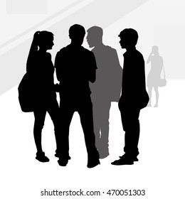 Teenagers Silhouettes-Vector