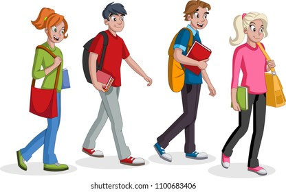 Teenagers students walking. Cartoon young people.