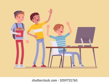 Teens fun at computer. Group of friends watching at PC screen in amusement and enjoyment, laughing at video streaming, chat, gaming, music or social network. Vector flat style cartoon illustration