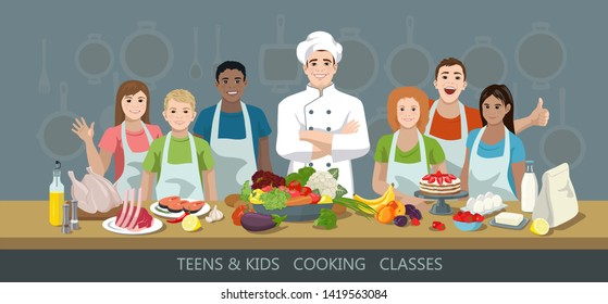 Teens and kids cooking classes concept. Chef and African American, European and Indian children students. Lots of variety of products in the foreground. Cook training courses. Vector illustration.