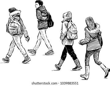 Teens students go to school
