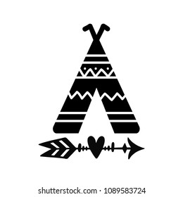 Teepee and arrow tribal tattoo. Wigwam ornamental design. Vector illustration isolated on white background.