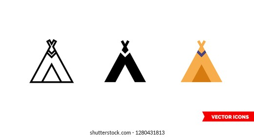 Teepee icon of 3 types: color, black and white, outline. Isolated vector sign symbol.