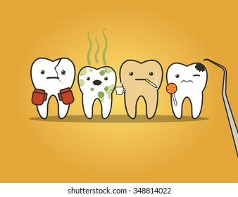 Teeth bad company. Concept of problematic teeth. Funny vector illustration
