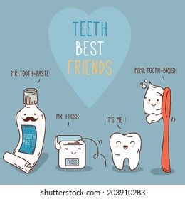 Teeth best friends - tooth past, tooth brush and floss. Vector illustration. Dental concept for your design. Illustration for children dentistry and orthodontics. Cute teeth characters.