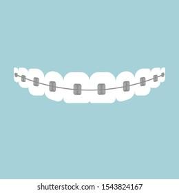 Teeth with braces. Dental braces. Vector illustration.