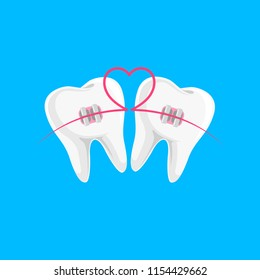 Teeth with braces icon design with heart line. Orthodontic braces flat icon for web and mobile, modern minimalistic flat design. Vector illustration isolated on blue background.