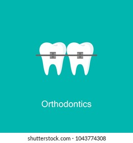Teeth with braces image isolated on background. Orthodontic braces flat icon for web and mobile, modern minimalistic flat design. Vector illustration. Orthodontics logo.