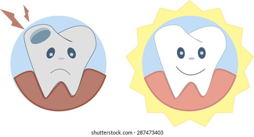 Teeth brushing concept. Vector illustration, isolated. Human Teeth Characters Before and after view of teeth whitening