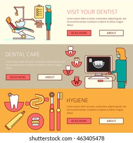 Teeth care horizontal banners set of prophylactic checkup dentist tools and hygiene products flat vector illustration.Dental X-rays . Diagnosis and prevention of a dentist .