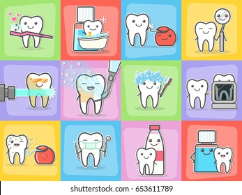 Teeth care treatment and hygiene concepts set. Healthy happy teeth. Vector illustration