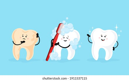 Teeth cartoon, great design for any purposes. Flat cartoon cleaning teeth vector illustration. Funny character.