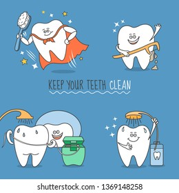 Teeth cartoon set. Tooth with brush, floss, pick and mouthwash. Keep your teeth clean. Cute and funny characters for dentistry design or a standalone illustration.