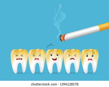 Teeth with cigarette. Smoking effect on human teeth. Dental care concept. Stop smoking, World No Tobacco Day. Illustration on blue background.