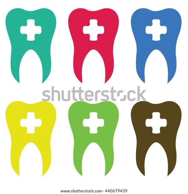 Teeth with cross. Dental icons