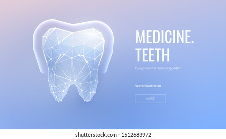Teeth enamel protection low poly landing page template. Volumetric moral polygonal glowing illustration. Antibacterial mouth cavity care mesh art banner. Dentistry service homepage design
