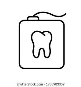 Teeth floss in a rectangular case with tooth shape. Linear icon of dental floss in container. Black simple illustration of daily oral care.