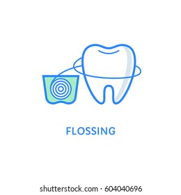 Teeth flossing symbol. Dental icons. Tooth with dental floss isolated on white. Teeth care and hygiene label. Flat line style logotype. Everyday good habit. Stomatology emblem.