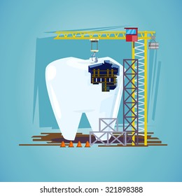 teeth with hoisting crane. treatment procedure, dental conceptual - vector illustration