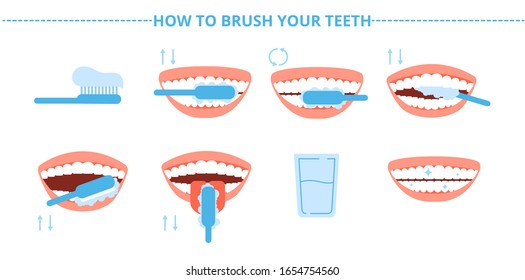 Teeth hygiene. Brush washing tooth, toothbrush and toothpaste. Steps brushing dental care. Stomatology and healthy mouth vector illustration