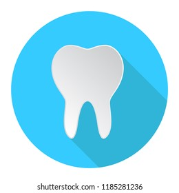 teeth icon, dentist flat vector symbol, a healthy tooth  isolated on blue background