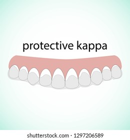 Teeth illustration vector. Erased teeth. Protective kappa. Dental concept