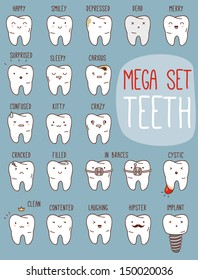Teeth mega set. Big dental collection for your design. Many various vector cartoons - sad, happy, hipster tooth, etc. Illustrations for children dentistry about toothache and treatment.