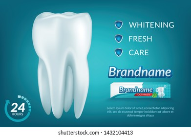 Teeth protection concept vector realistic illustration. Oral care, dental health concept design template for toothpaste packaging, poster, banner, flyer etc
