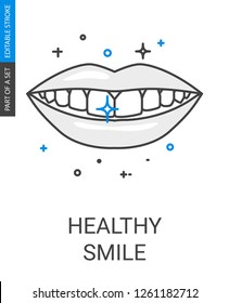 Teeth Smile Line Icon. Thin Outline Flat Icon of Healthy Teeth Smile from Dental Care Icons Set.