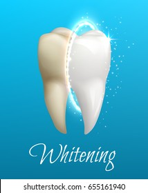 Teeth whitening 3d concept. Comparison of clean and dirty tooth before and after whitening treatment. Teeth whitening procedure, dental health and oral hygiene poster for dentistry design