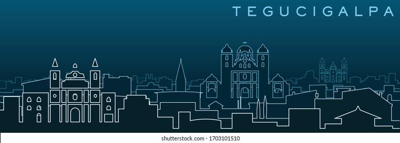 Tegucigalpa Multiple Lines Skyline and Landmarks